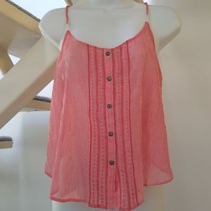 Aerie Red and White Striped Button Sheer Cami Sz M